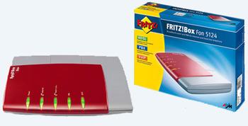 scatola e front modem FRITZ! box Fon 5124